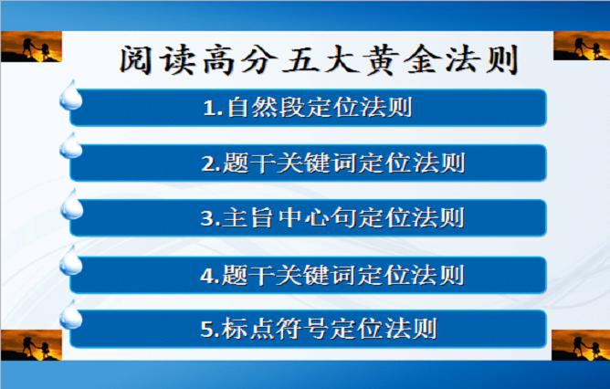 高中英语阅读理解的解题技巧:五大黄金法则